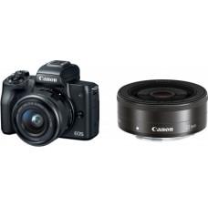 Canon EOS M50 Black + EF-M 15-45mm IS STM Black + EF-M 22mm Black