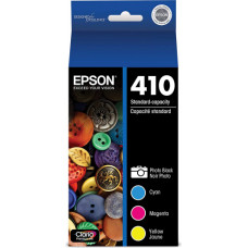 Epson 410, Photo Black and Color Ink Cartridges, C/M/Y and Photo Black 4-Pack (T410520-S)