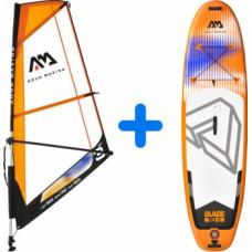 Aqua Marina Blade Windsurf iSUP 3.2m/12cm with safety leash + Blade Sail Rig Package - 3m² Sail Rig (BT-20BL-3S + BT-20BL)