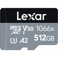 Lexar Professional 1066x microSDXC 512GB UHS-I 160MB/s read 120MB/s write SILVER Series (LMS1066512G-BNANG)
